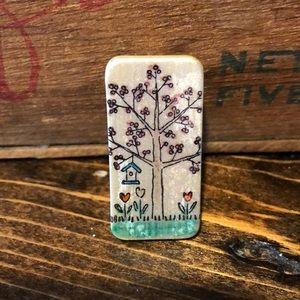 Vintage Hand-Painted Floral Majong Tile Brooch